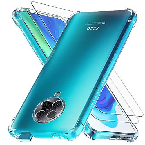 Ferilinso Hülle für Xiaomi Poco F2 Pro + 2 Stück Panzerglas Schutzfolie [Transparent Silikon Handy Hüllen] [Stoßfest Kratzfest ] [Shock Absorption Schutzhülle] [Bumper Crystal]