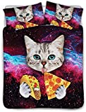Galaxy Cat Bedding Full for Girls Boys Cute Colorful Cat Print Duvet Cover Galaxy Funky Food Design Comforter Cover Funny Home Universe Pizza Decor Bedding Quilt with Pillowcases,Zipper,Ties