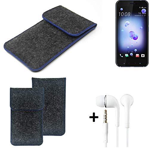 K-S-Trade Filz Schutz Hülle Für HTC U11 Dual-SIM Schutzhülle Filztasche Pouch Tasche Handyhülle Filzhülle Dunkelgrau, Blauer Rand Rand + Kopfhörer