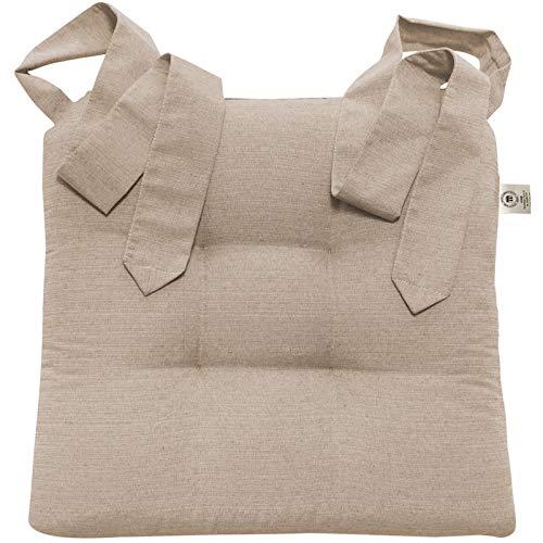 JEMIDI Stuhlkissen Sitzkissen mit Schleifenband Stuhlkissen Esszimmer Schleife Stuhl Kissen Rattanstühe Extra Dick Bequem Leinenlook (Taupe)