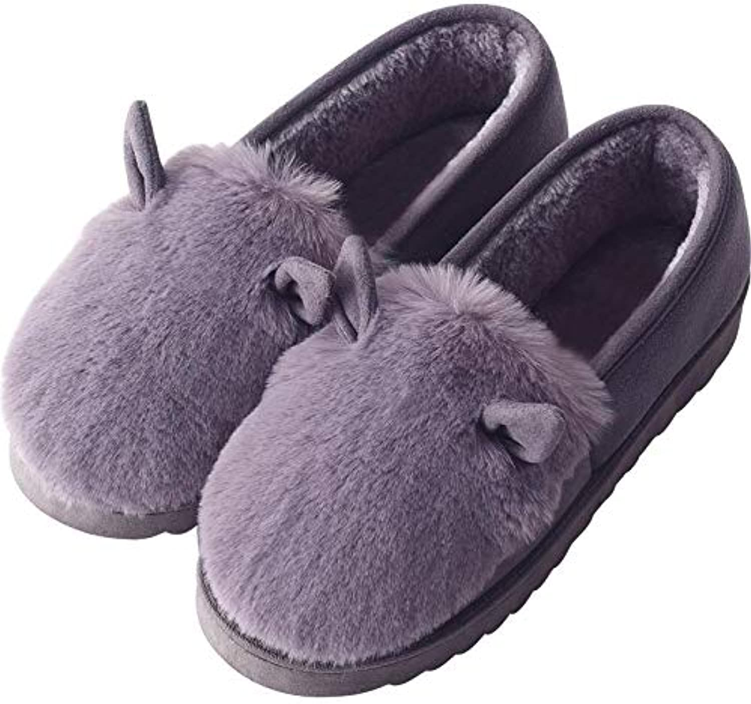 Winter Cotton Slippers, Plush Lining Clog House Indoor Non-Slip Floor shoes for Adult Women