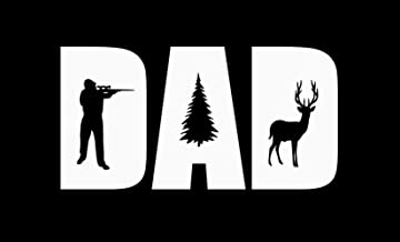 JMM Industries Dad Deer Hunting Vinyl Decal Sticker Car Window Bumper Premium Quality Print UV Resistant Laminate JMM00149WHT6 (White, 6-Inches)