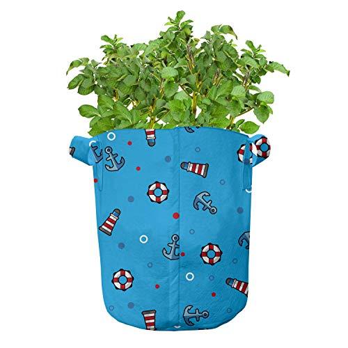 ABAKUHAUS Vuurtoren Groeizakken, Stippen Marine, set van 7 Zwaar Uitgevoerde Zak van Textiel voor Planten, met Handgrepen, 26 liter, Blauw Rood Wit