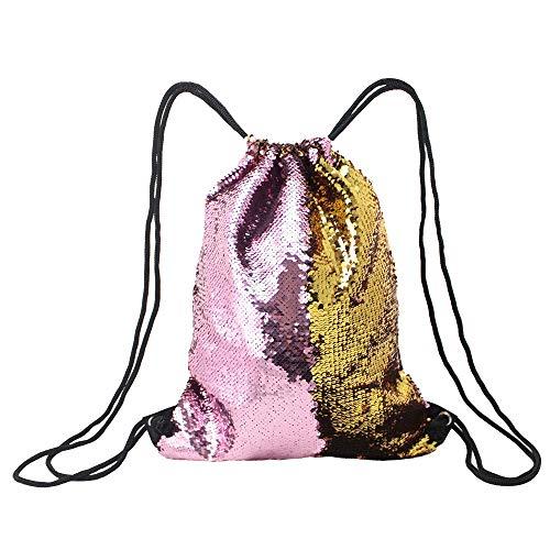 Borse di stoccaggio Zaino con paillette con coulisse Zaino scintillante con paillettes esterne reversibili con paillettes per ragazze per la cucina di casa all'aria aperta ( Color : Pink+Gold )