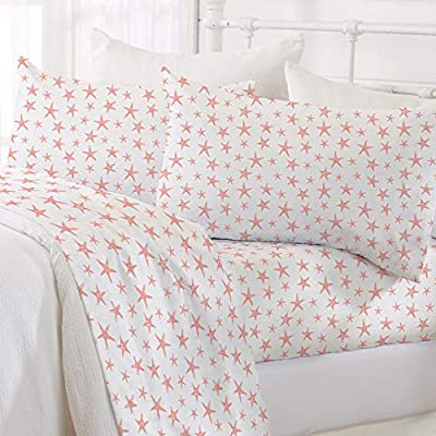 Great Bay Home Printed Coastal Microfiber Bed Sheets. Wrinkle Free, Deep Pockets, Beach Theme Sheet Set. Newport Collection (Queen, Starfish - Coral)