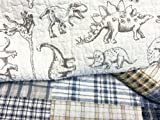 Cozy Line Home Fashions Benjamin Cute Dinosaur Plaid Printed Pattern Navy Blue White Grey Bedding Quilt Set 100% Cotton Reversible Coverlet Bedspread Set for Kids Boy(Twin - 2 Piece)