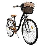 Milord. Vélo de Confort avec Panier Bicyclette Femme City Bike Vélo de Ville, 1 Vitesse, Brun Noir, 28 Pouces