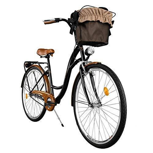 Milord. Comfort Bike con Cesto, Bicicletta da Città Donna, 1 velocità, Marrone - Nero, 28'