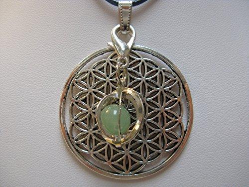 Natural mente – Pendentif Fleur de vie, la pierre + 1 Chakra, pendentif pour collier, amulette, fleur de vie, avec bandeau plastique, pierres précieuses, n ° 124