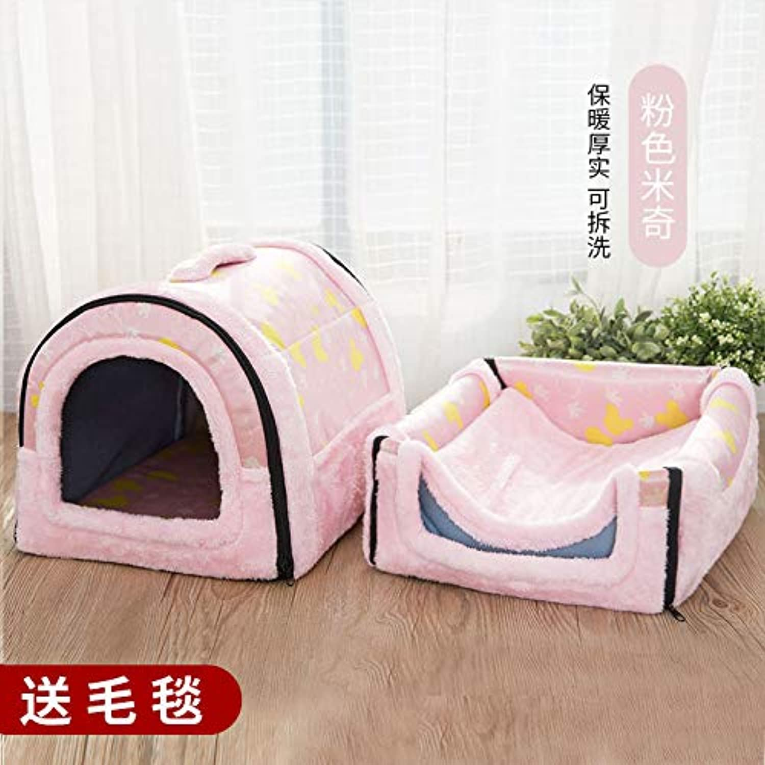 Kennel winter mediumsized small di dog house cat pet house bed washable four seasons universal yurt, pink Mickey, L, 60cm47cm45cm