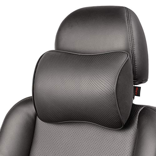 XQRYUB 2-teiliges Auto-Nackenkissen Leder-Kopfstütze Verstellbares Auto-Kopfstützen-Kissen Travel Neck Cushion Support Holder Sitzkissen
