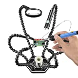 Black Helping Hands set with Magnifying Glass and Mini Flashlight,Soldering Holding Tool Perfect for Electronics PCB Repair Holder