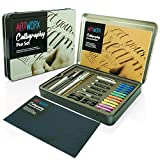 Artworx Calligraphy Pen Set - Introductory Calligraphy Writing & Hand Lettering Kit For Beginners - Includes Instructions Guide Book and Practice Paper