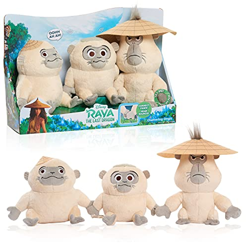 Disney's Raya and the Last Dragon Chattering Ongis Plush, 3-Piece Set, Connecting Stuffed Animals with Sound