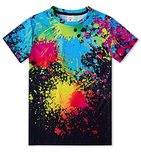 Idgreatim Boys' Short Sleeve O-Neck T-Shirts Colorful Ink 3D Printed Pullover Girls' Tees Black Sizes S
