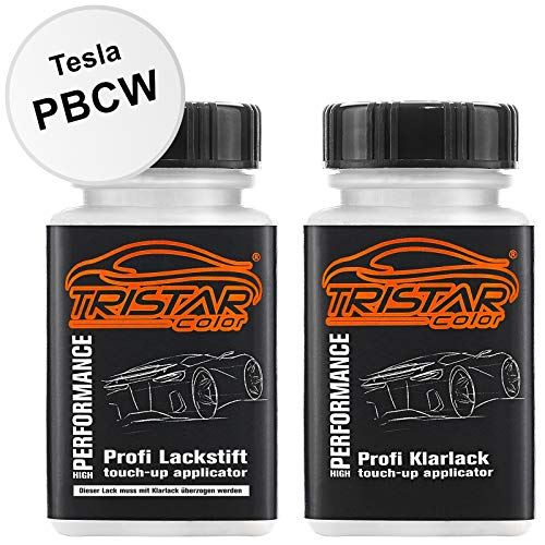 TRISTARcolor Autolack Lackstift Set für Tesla PBCW Catalina White Basislack Klarlack je 50ml