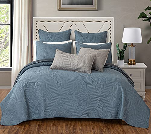 AiJar Home 3-Piece Ultrasonic Reversible Set Pillow Quilt S with Spring new work one after Clearance SALE! Limited time! another