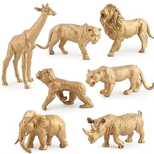 Newmemo 7pcs Gold Plastic Animal Figurine Toy  Realistic Jumbo Safari Zoo Animal Figure  African Jungle Wild Animals Playset  Animal Cake Decoration for Jungle Safari Themed Birthday Baby Shower Party