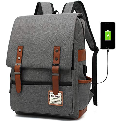 Travel Laptop Backpack, MCWTH Business Slim Durable Tablet Backpack with USB Charging Port,Water Resistant College Student School Computer Bag for Women & Men Fits 15.6 Inch Laptop and Notebook Grey