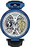 Stührling Original Reloj Esqueleto para hombre, esfera automática con correa de piel de becerro y doble hora, AM/PM Sun Moon, Azul