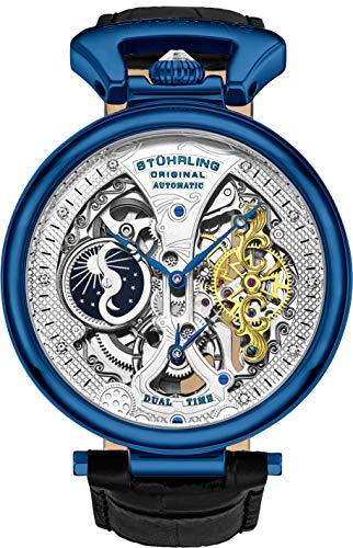 Stührling Original - Reloj de pulsera automático para hombre con esfera de esqueleto y correa de piel de becerro, horario AM/PM, sol, luna., Azul