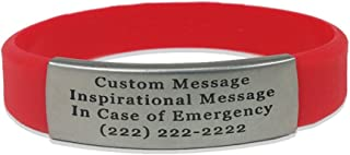Waterproof In Case of Emergency Performance Red Skinny Sport Fitness Safety ID Bracelet Hypo-allergenic Silicone with Free Engraving