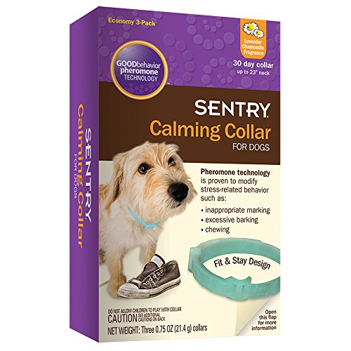 SENTRY Calming Collar for Dogs, Up to 23-Inch Neck, Includes Three Dog Calming Collars, Lavender Chamomile Fragrance