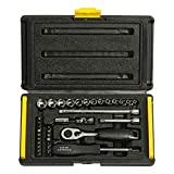 STANLEY 1-89-033 1/4'' Drive 6 Point Socket and Bit Mechanic Tool Kit, Silver, 35-Pieces