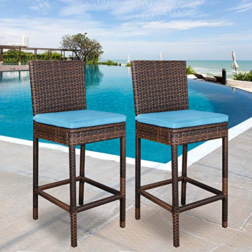 SUPER DEAL Outdoor Upgraded All Weather Wicker Bar Stools with Cushions, Espresso Blue (Set of 2)