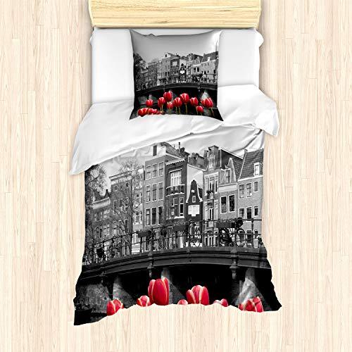 ABAKUHAUS Amsterdam Bettbezug Set für Einzelbetten, Amsterdam-Kanal, Milbensicher Allergiker geeignet mit Kissenbezug, Schwarz & Weiß