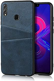 For Huawei Honor 8X Leather Wallet Case, Retro Synthetic PU Leather Case Snap-on Cover with 2 Credit Card Holders (Color :...