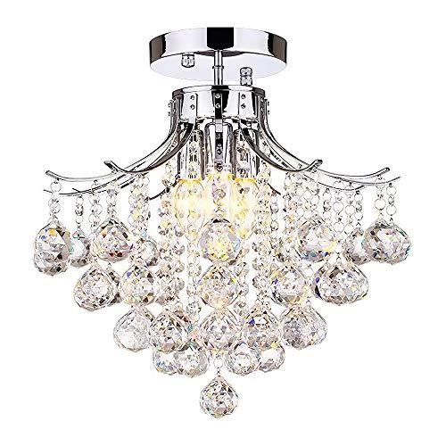 Elegante kristallen lamp, modern helder druppeltje transparant K9 kristallen kogel plafondlamp LED inbouw hanglamp, voor eetkamer woonkamer slaapkamer hal foyer, E14, grootte: D40cm H35cm