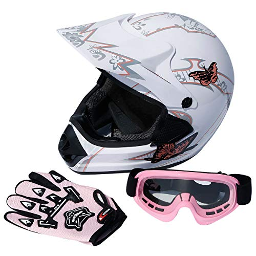 TCT-MT DOT Pink Butterfly Helmet w/Gloves Goggles Adult Dirt Bike ATV Motocross Motorcycle Helmet w/Gloves Goggles (X-Large)