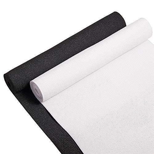 BENECREAT 2 Yards 200 mm breites flaches Gummiband Schwarz weißes schweres Stretch Gestrick für Nähprojekte