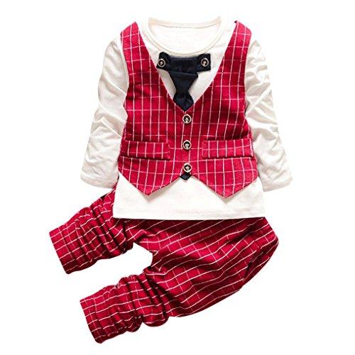 SUCES Kleinkind Jungen Plaid Print Tops + Pants + Mantel Outfits Kinder Bekeleideung Set Geschenk Baumwolle 2stk Gentleman Neugeborenes Langarm Anzug Baby Pants + Shirt Kleidung Suit (3T, Red)