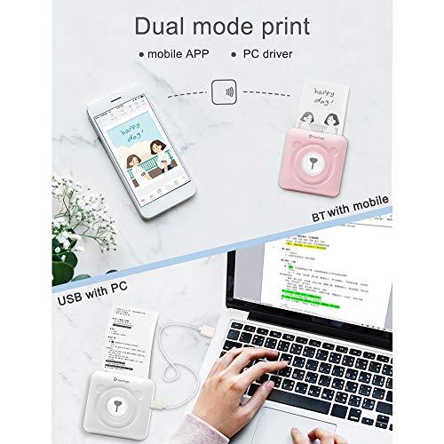 Aibecy PeriPage Mini Fotodrucker Tasche, kabellos, BT, Thermodrucker, Memo-Papier, Drucker mit USB Kabel, Unterstützung für Android iOS Smartphone Windows weiß