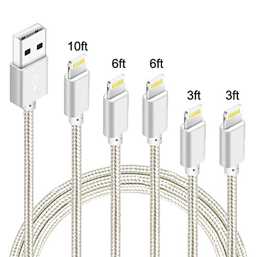 5Pack(3ft 3ft 6ft 6ft 10ft) iPhone Lightning Cable Apple MFi Certified Braided Nylon Fast Charger Cable Compatible iPhone Max XS XR 8 Plus 7 Plus 6s 5s 5c Air iPad Mini iPod (Silver)