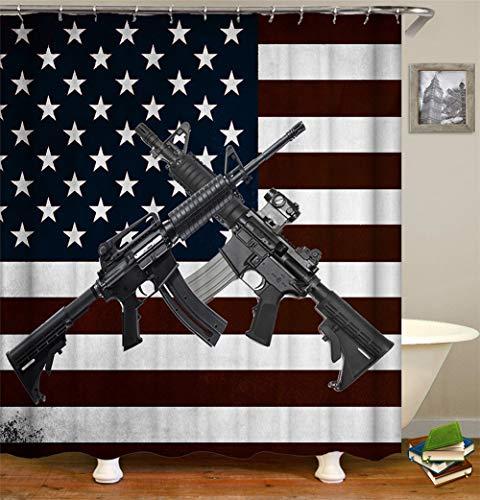 Tweezijdig deel van de Amerikaanse vlag twee zwarte lunchlip douchegordijn waterdicht gemakkelijk te reinigen 180 x 180 cm.