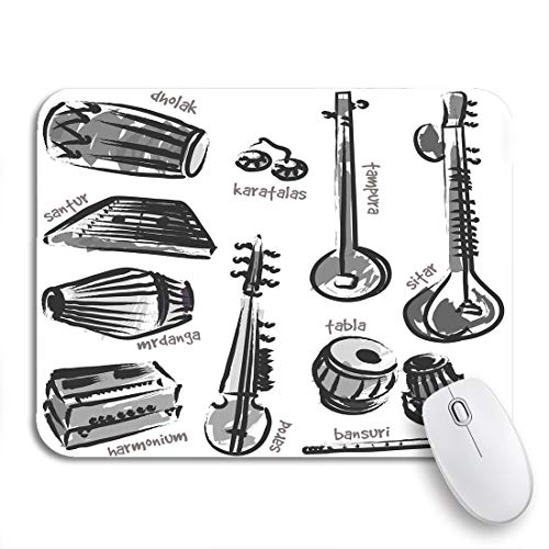 Adowyee Gaming Mouse Pad Classical Traditional Indian Instruments for Music Billboard Tabla Harmonium 9.5
