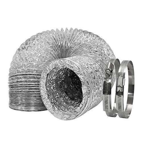 HG Power Tubo de aluminio flexible de 100 mm de diámetro para ventilación de aire acondicionado, secadoras, campanas extractoras con 2 abrazaderas (4 pulgadas x 10 m)