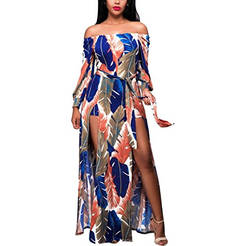 Tsmile Women Summer Boho Long Maxi Dress Evening Party Beach Dress Sundress (Multicolor, m)