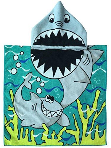 SINBLUE Poncho con capucha para niños de algodón para baño o playa, 61 x 122 cm, para regalo de baby shower, WHITE SHARK