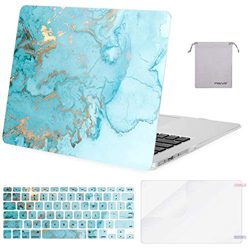 MOSISO MacBook Air 13 inch Case (A1369 A1466, Older Version 2010-2017 Release), Plastic Watercolor Marble Hard Case&Keyboard Cover&Screen Protector&Pouch Compatible with MacBook Air 13 inch, Turquoise