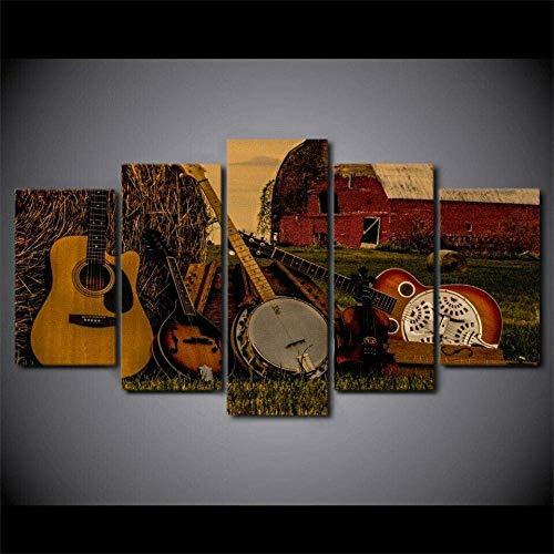 Lienzo Arte de la Pared 5 Piezas Impresiones en Lienzo no Tejido Obra de Arte Imagen Impresa en HD Decoración Moderna del hogar Regalo Creativo 150X80 Cm Música Country Tocar la Guitarra