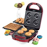 Giles & Posner EK2102SG 3 in 1 Treat Maker, Doughnut, Cake Pop & Waffle Maker, 600W, Red