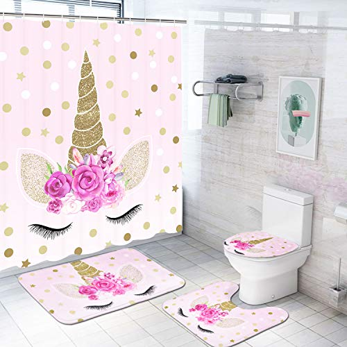 Romeooera 4-teiliges Einhorn-Duschvorhang-Set mit rutschfesten Teppichen, WC-Deckelbezug und Badematte, rosa Einhorn-Duschvorhang, wasserdicht mit 12 Haken für Mädchen und Kinder Badezimmer