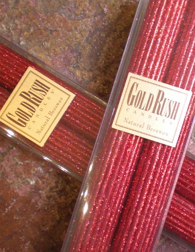 Gold Rush 12 Inch Natural Beeswax Glitter Candles, Ruby Red Color, Boxed Set of 2 Candles