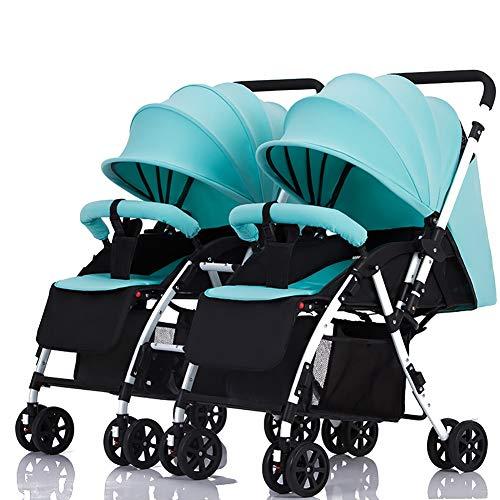 Poussetter Yhz jumelle à poignée détachable Porte-bébé réversible Peut s'asseoir et Se Coucher léger Chariot Double Pliable (Couleur : Mint Green)