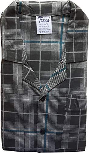 Unbekannt Herren Pyjama, Durchgeknöpft, Karo, Grau, 61634, Gr. 50