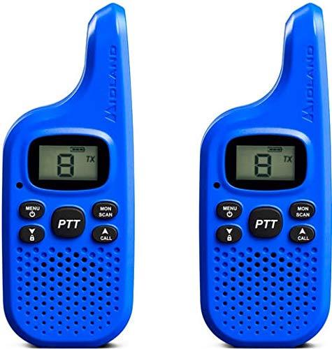 Midland C1425 XT5 Radio Ricetrasmittente Walkie Talkie per Famiglie e Bambini 38 Toni CTCSS, Trasmissione Half-Duplex, Raggio 4km, Colore Blu - 2 Ricetrasmettitori